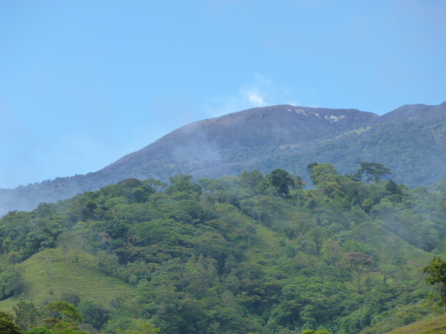 Steam rising from the Turrialba volcano