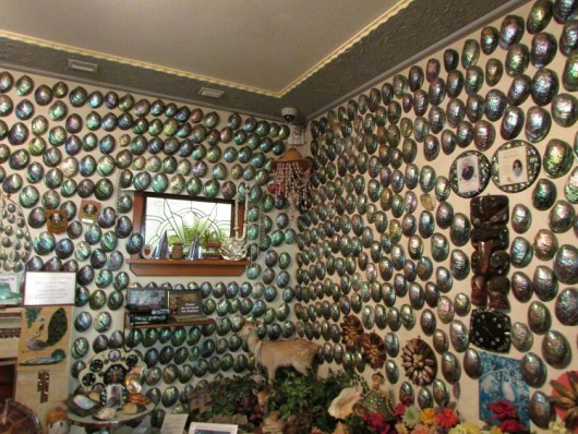 Paua house. This house really existed, the walls full of paua shells (abalone)