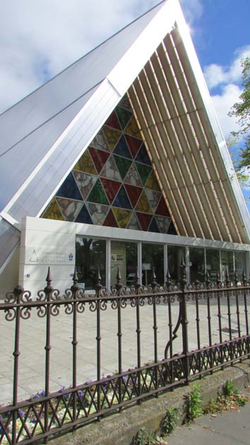 Outside of cardboard cathedral