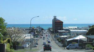 New Plymouth coastal view through town