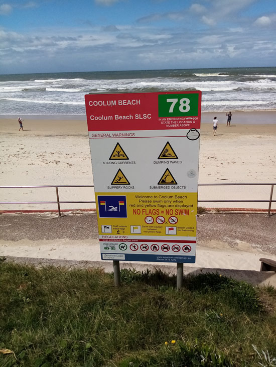 coolum beach sign