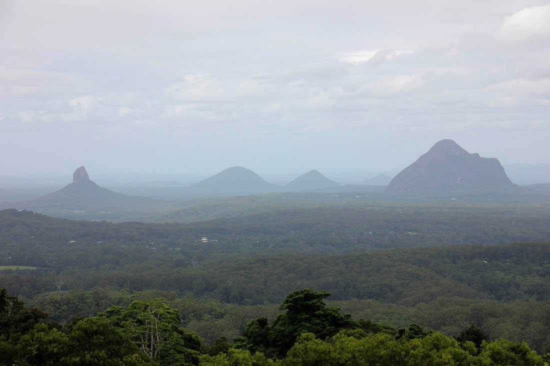 Glasshouse mountain view from Mary Cairncross