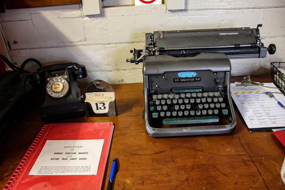 Ormondville train station typewriter old phone